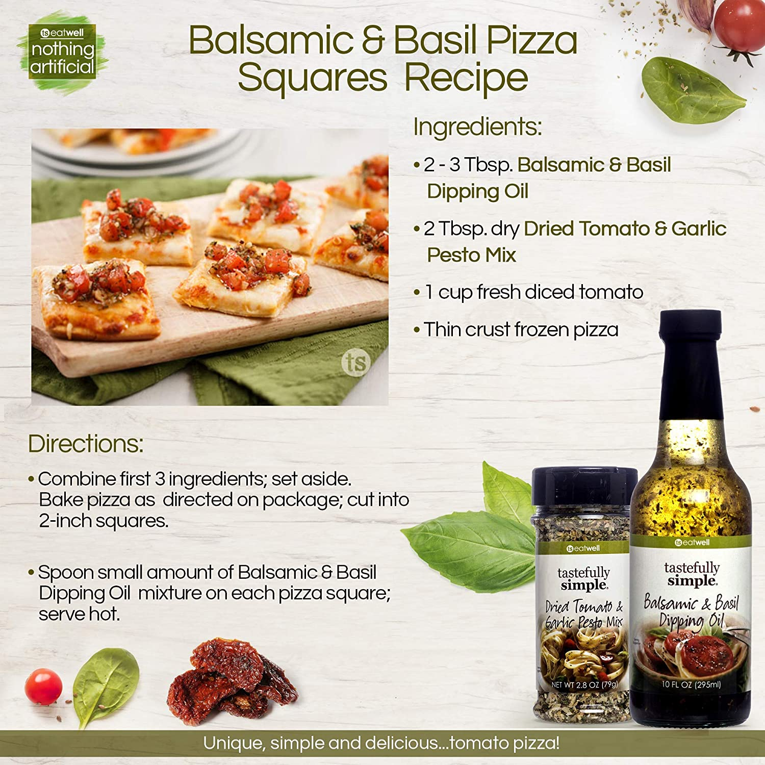 Amazon Com Tastefully Simple Balsamic Basil Dipping Oil Perfect For Dipping Bread Over Pasta Paninis Grilled Cheese 10 Fl Oz Grocery Gourmet Food
