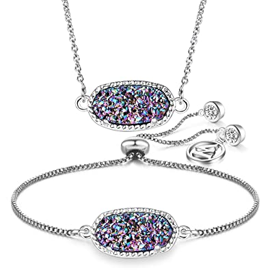 98877fcfc WISHMISS Women Jewelry Set Love of GOD Natural Drusy Adjustable Bracelet  and Pendant Necklace Set with
