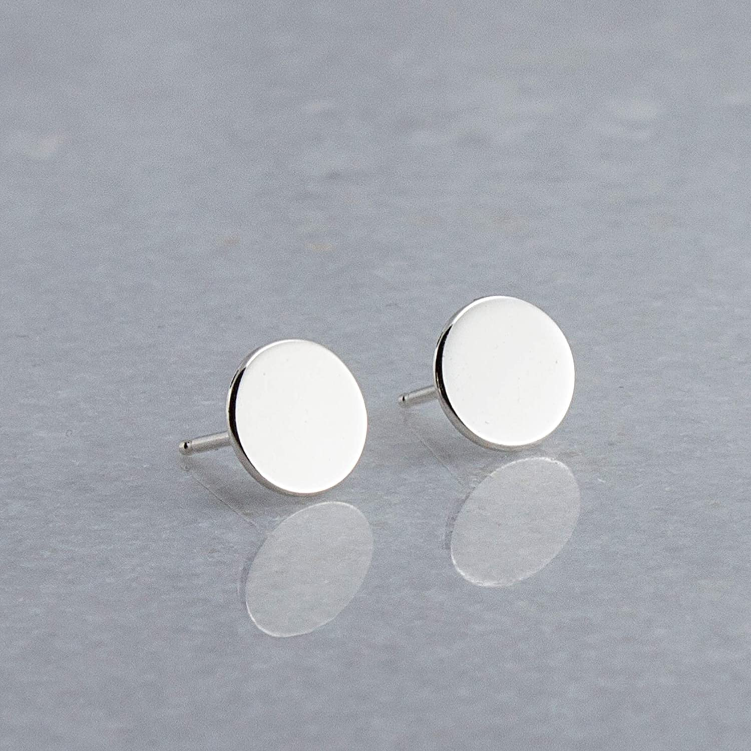 47c498395 Amazon.com: Sterling Silver Round Disc Stud Earrings SS-7M-SHINY STUDS:  Handmade