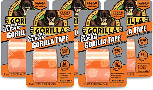 "Gorilla 6015002 Crystal Duct Tape Strength Durability 1.5"" x 5 yd Pack 1 Clear"