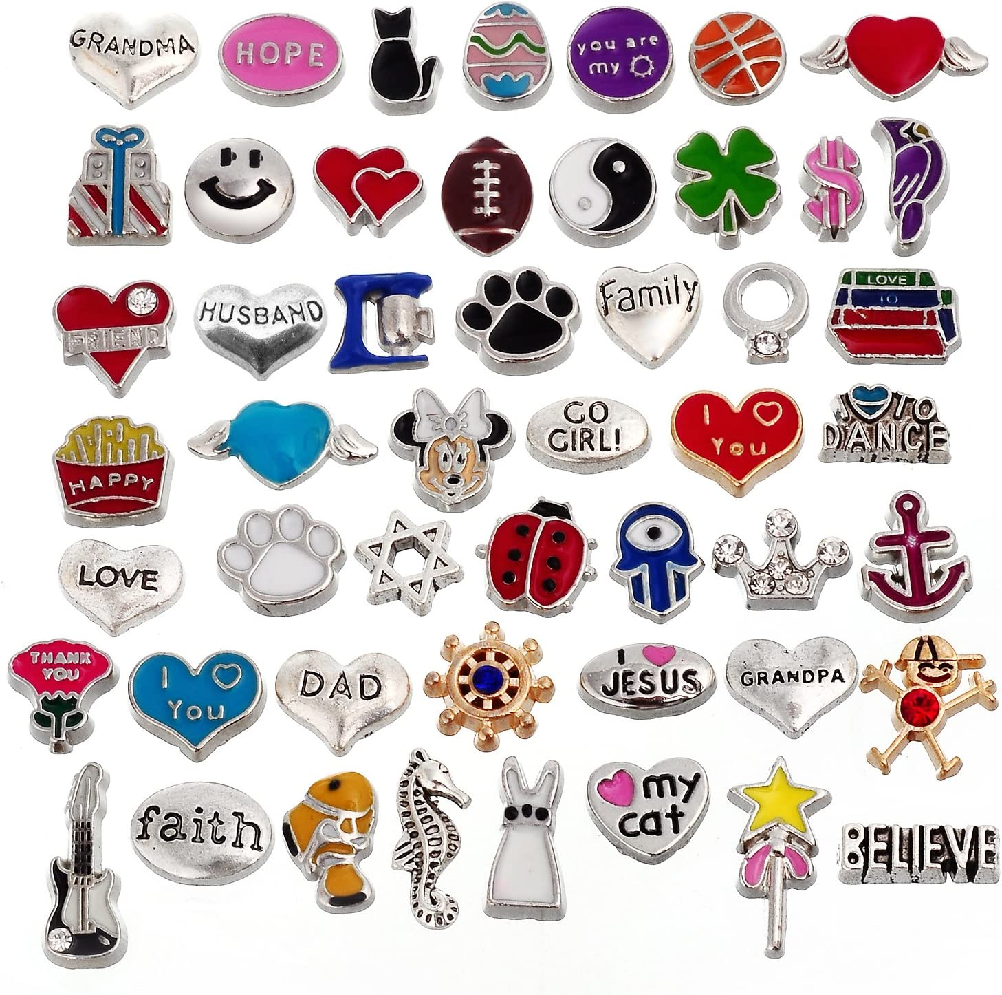 RUBYCA 50pcs Metal Floating Charms Lot for DIY Glass Living Memory Locket Silver Gold Color Mix 6