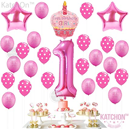 Amazon 1st Birthday Girl Balloons Set