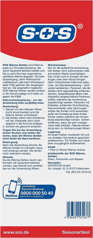 Gr. 36-40 gegen kalte F/ü/ße SOS W/ärme-Sohlen Gr/ö/ße M
