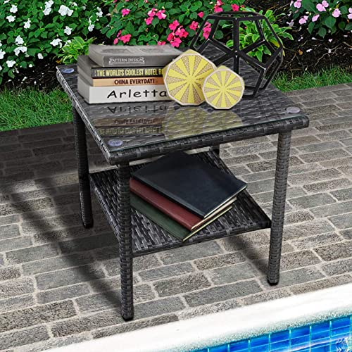 Valita Outdoor PE Wicker Side Table Glass Top Garden Poolside Small Patio Rattan Furniture Square End Table
