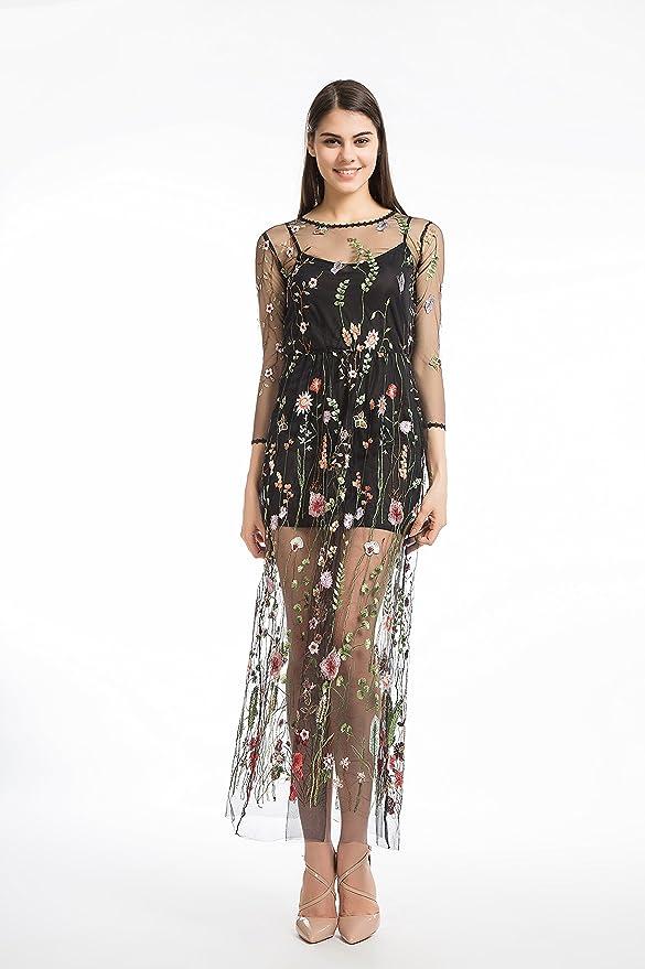 c6b60c4f8b7 Amazon.com  shifangtrade Black Floral Embroidered Mesh Maxi Dress ...
