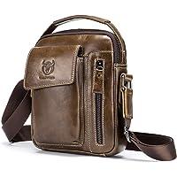 حزمة كتف، حقيبة كتف من الجلد الأصلي العتيق للرجال من Andoer الرياضة في الهواء الطلق حقيبة كروسبودي حقيبة يد عادية حزمة