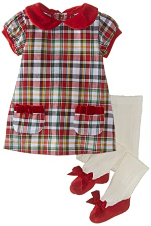 a4129e5e66 Amazon.com: Mud Pie Baby-Girls Newborn Tartan Dress and Tights: Clothing