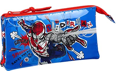 safta 812043744 Estuche Portatodo Triple Escolar Spiderman, Multicolor: Amazon.es: Equipaje