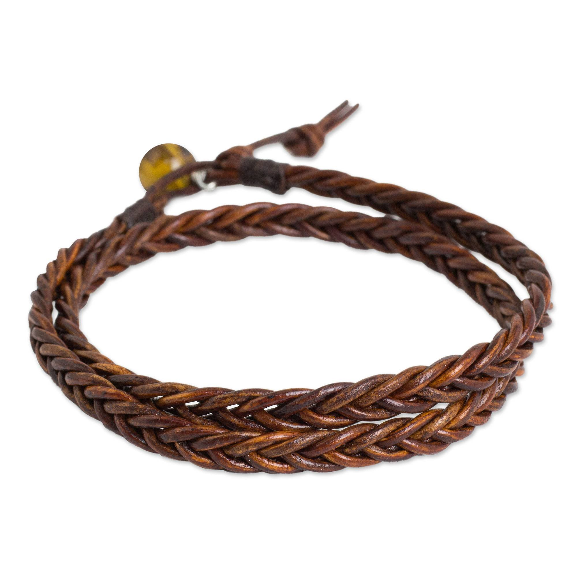 NOVICA Tiger's Eye Braided Leather Men's Wrap Bracelet, 16.5'' 'Double Cinnamon'