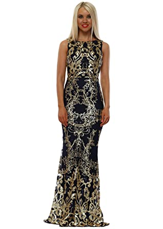 cb644821b0 Goddess London Stephanie Pratt Navy Sequinned Scalloped Maxi Dress   Amazon.co.uk  Clothing