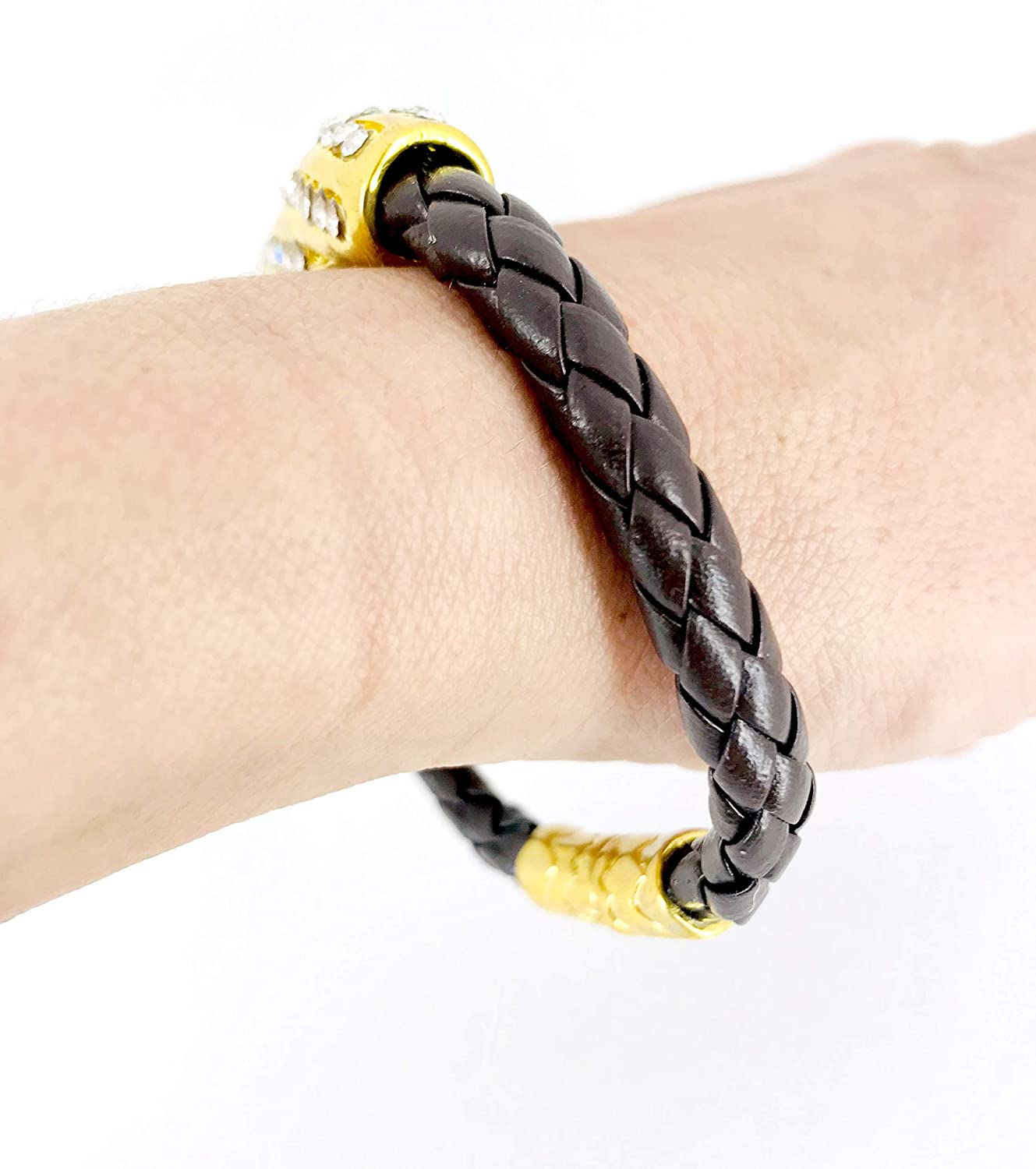 Uniklook Chunky Brown Braided Vegan Leather Gold AB Clear Crystal Bracelet Stackable Fashion Jewelry for Women