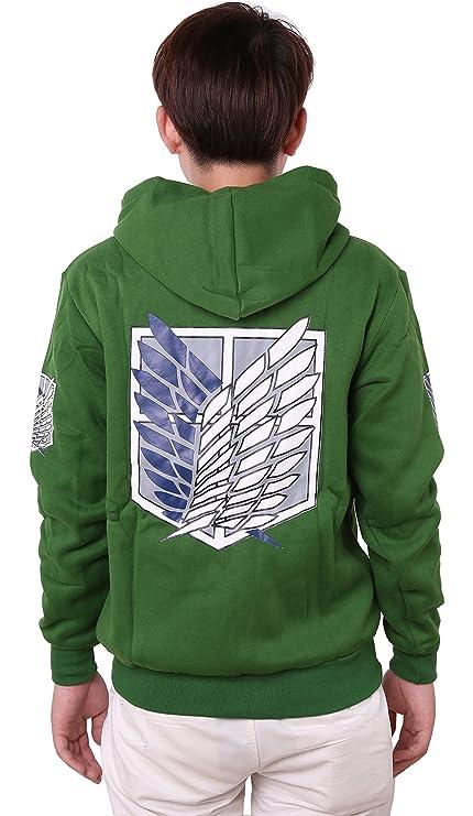 Shingeki No Kyojin Ataque a los titanes - Sudadera con capucha, con cremallera, disfraz, cosplay, diseño de logo con alas Green4 XS: Amazon.es: Ropa y ...