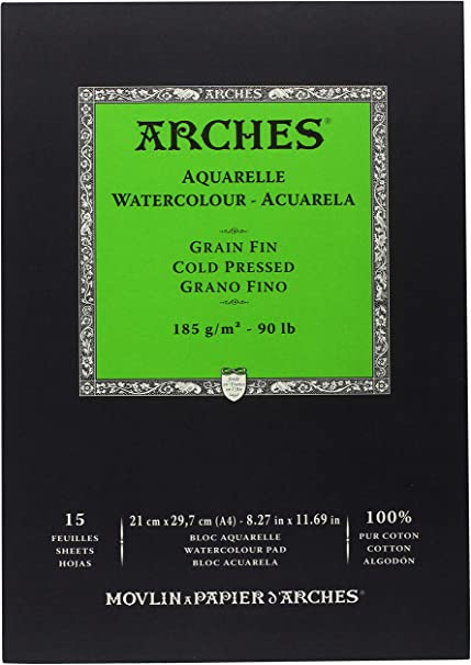 Arches - Bloc De Papel De Acuarela Con 15 Hojas, Grano Fino, A4 ...