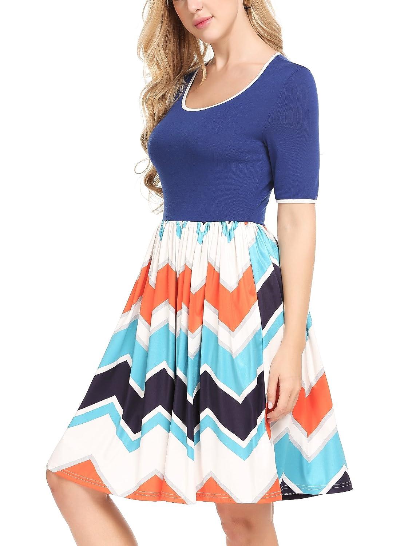 Meaneor Damen Skaterkleid Basic Kleid A-Linie Kleid Mit Gestreift Rock O-Ausschnitt Stretch