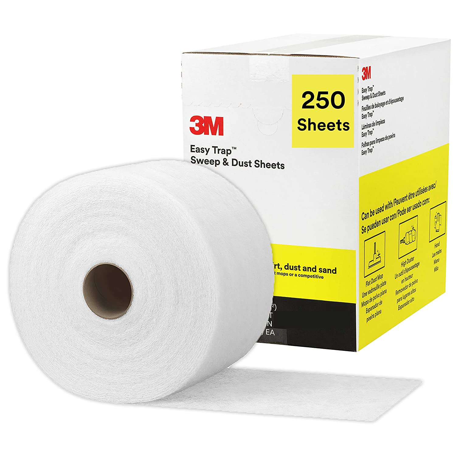 """3M Easy Trap Duster Sweep and Dust Sheets for Cleaning Dirt, Sand, and Hair on Hardwood Floors, Vinyl, and Tile in Kitchens, Bathrooms, and Entryways, 5"""" x 6"""" Sheets, 250 Sheets/Box"""