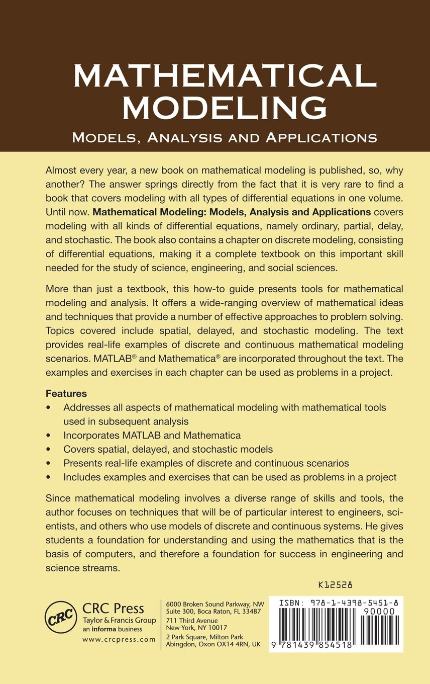 Buy Mathematical Modeling: Models, Analysis and Applications Book ...