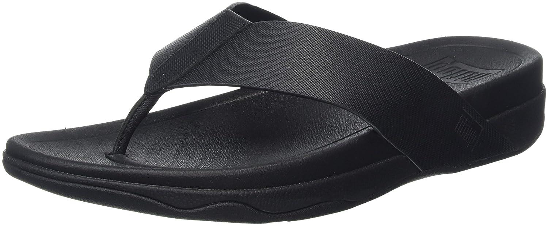 Fitflop Surfer (Leather), Sandalias de Punta Descubierta para Hombre 44 EU|Negro (Black)