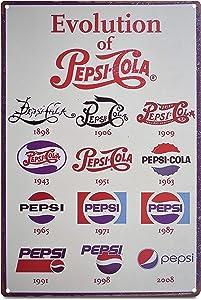K&H Pepsi Evolution Retro Metal Tin Sign Poster Wall Display 12X8-Inch
