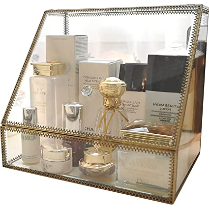 Hersoo Large Cosmetics Makeup Organizer Transparent Bathroom Accessories Storage Glass Display with Slanted Front Open Lid  sc 1 st  Amazon.com & Amazon.com: Hersoo Large Cosmetics Makeup Organizer Transparent ...