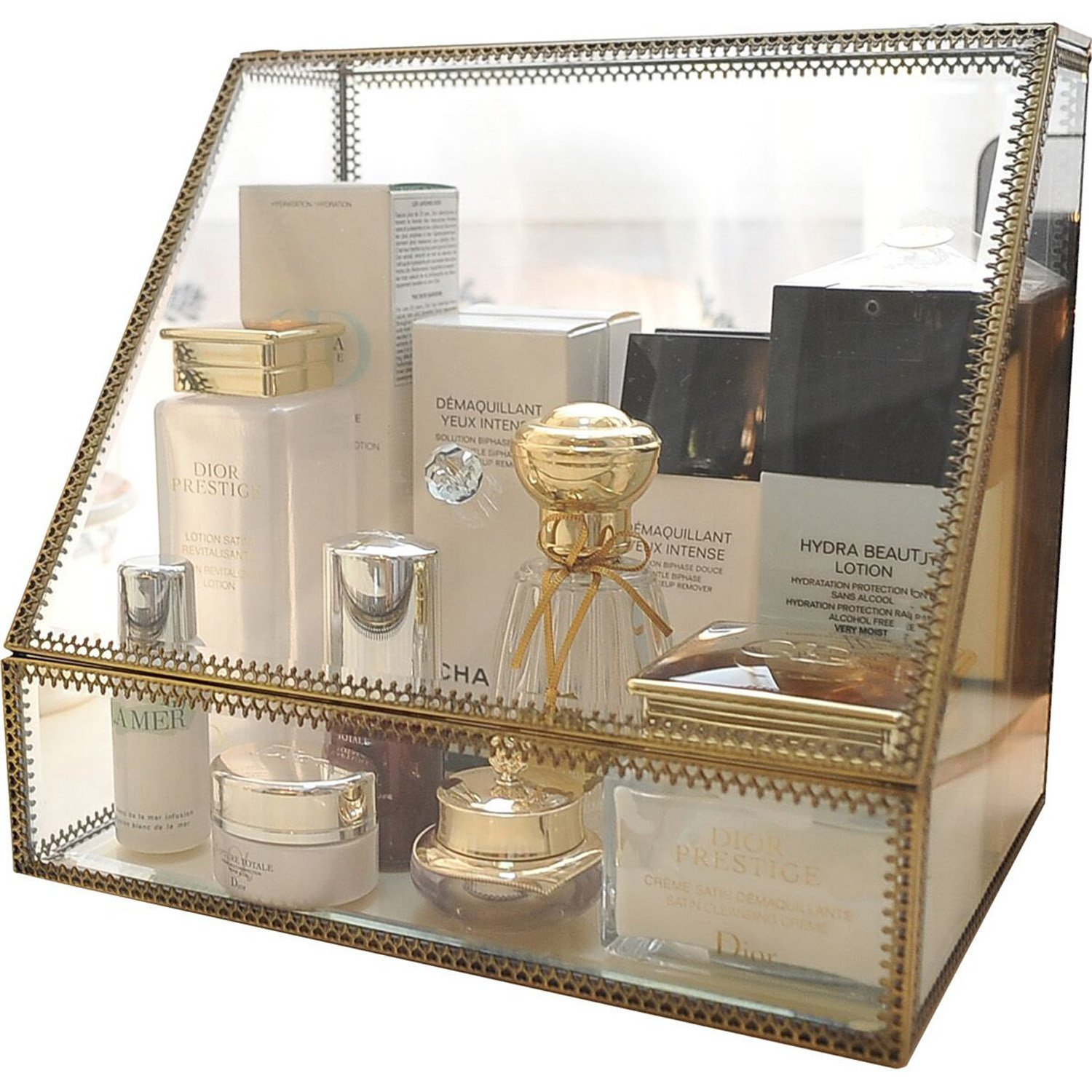 Hersoo Large Cosmetics Makeup Organizer Transparent Bathroom Accessories Storage Glass Display with Slanted Front Open Lid-Cosmetic Stackable Holder for Makeup, Brushes, Perfumes, Skincare