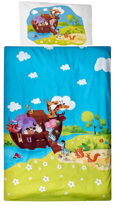 Aminata Kids Kinder-Bettwäsche Zoo-Tiere Wald-Tiere 100x135 cm Jungs hell-blau grün-e Baumwolle Reissverschluss Geschenk-Idee Arche-Noah Spielzeug