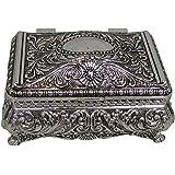 "Ornate Antique Finish Rectangular Trinket Jewelry Box - 3.5"" x 2.25"""