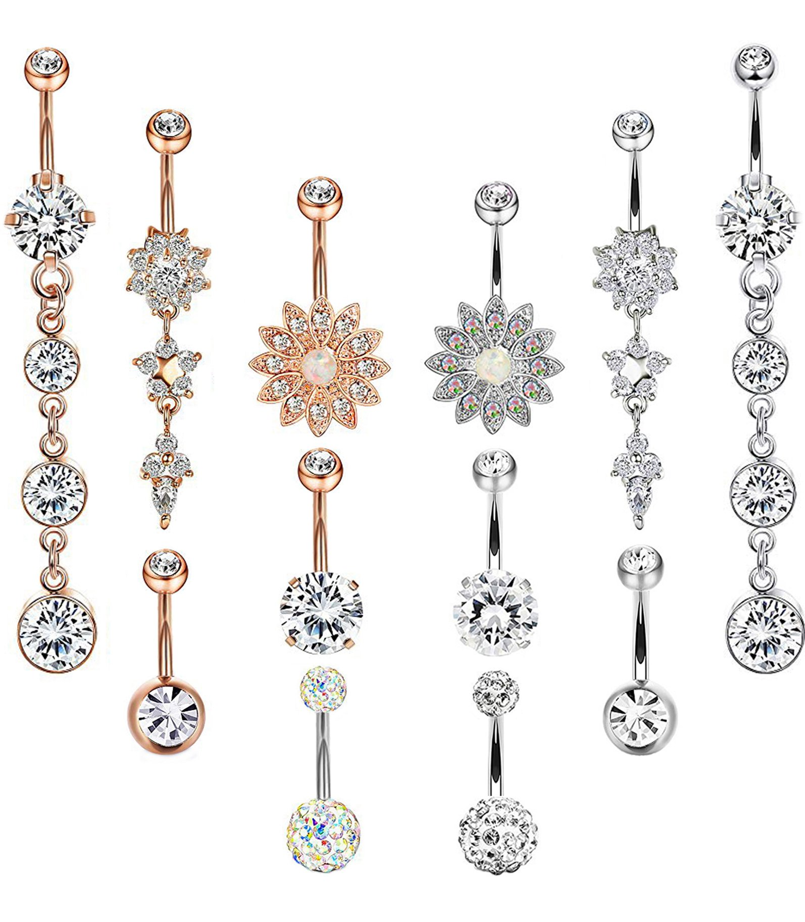 Masedy 12Pcs 14G 316L Stainless Steel Dangle Belly Button Rings for Women Girl Clear CZ Flower Barbell Body Piercing Jewelry SILVER+ROSE-GOLD