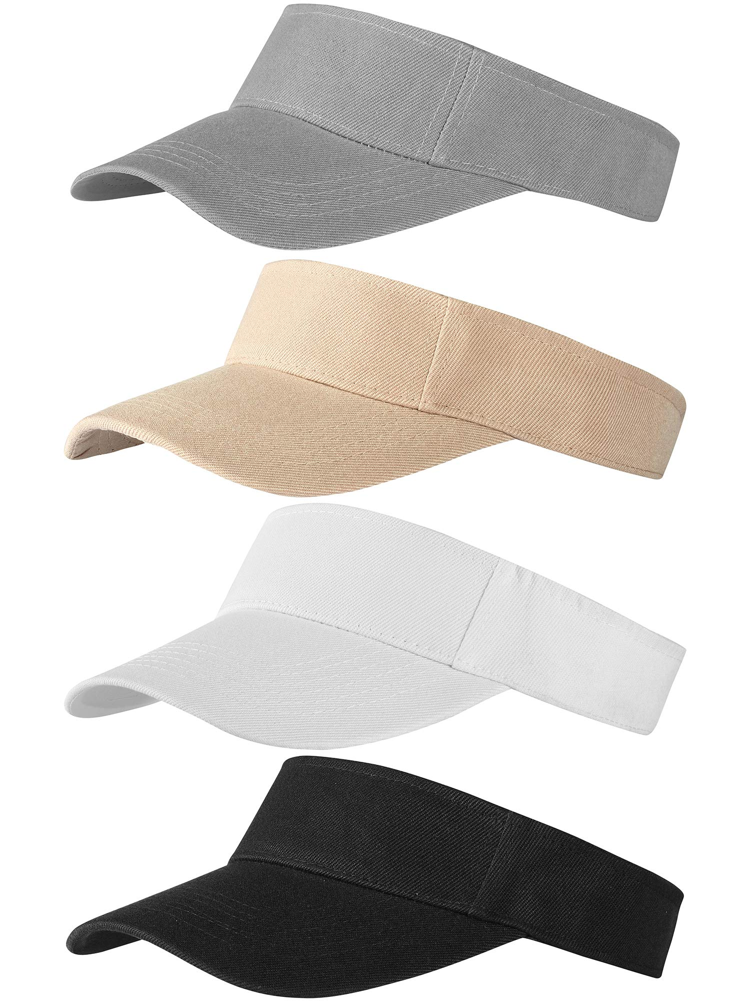 Trounistro 4 Pack Sun Sports Visor Hats Adjustable Hat Summer Cotton Cap