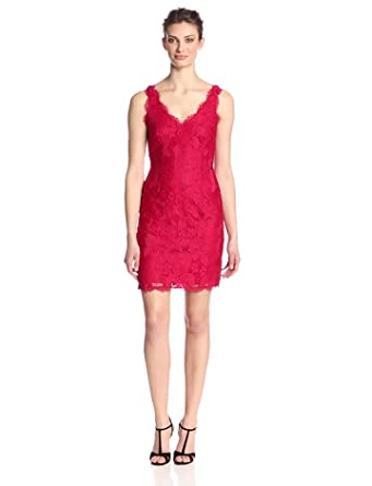 0e91a17673 Adrianna Papell Women's Sleeveless Double V-Neck Floral Lace Cocktail Dress,  Ruby, ...