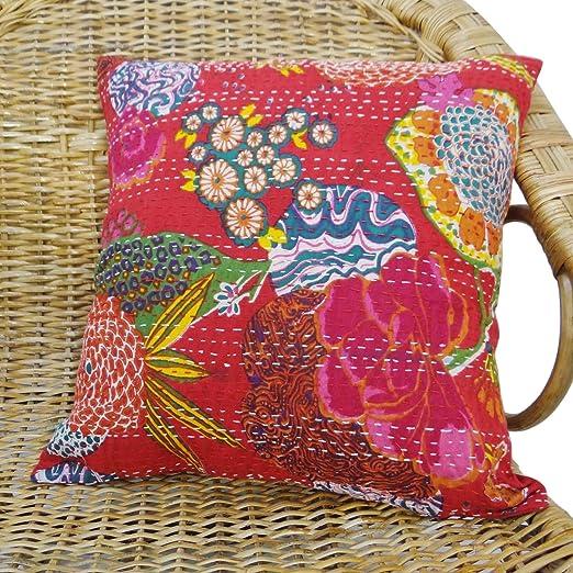 funda de cojín estampado floral rojo tiro indio almohada ...
