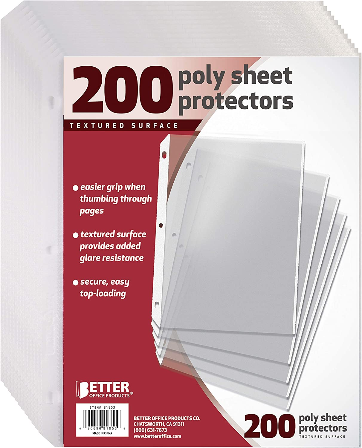 """200 Count Textured Sheet Protectors by Better Office Products, 8.5 x 11"""", Textured for Added Anti Glare, Extra Privacy, and Easier Handling, Top Load, 200 Pack"""