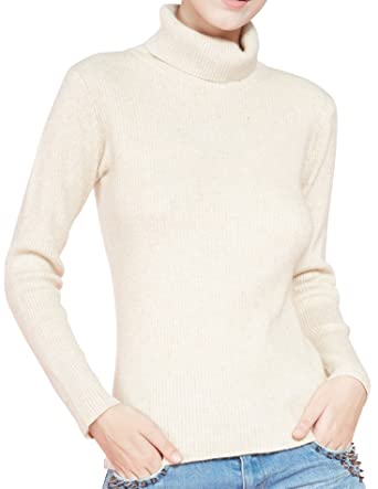 04a0eae26 LONGMING Women s Cashmere Turtleneck Sweater Slim-fit Long Sleeve ...