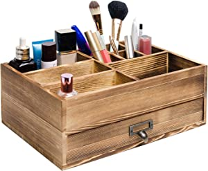 Liry Products Rustic Wooden Organizer Cosmetic Storage Cabinet Makeup Display Box Office Supplies Desktop Vanity Drawers Multiple Compartments Brown Tabletop Caddy Accessary Sorter Brush Holder Home