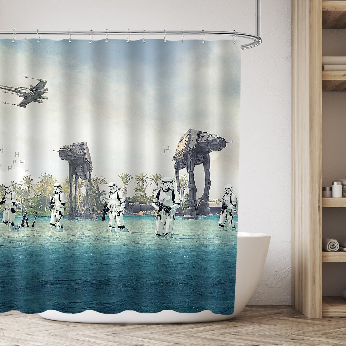 AT-AT Empire Strikes Back In Star Wars Movie Shower Curtain Set Blue Ocean Green Tree Stormtroopers Shower Curtain Panel 72x72 Inch Polyester Waterproof Fabric With 12-Pack Plastic Shower Hooks