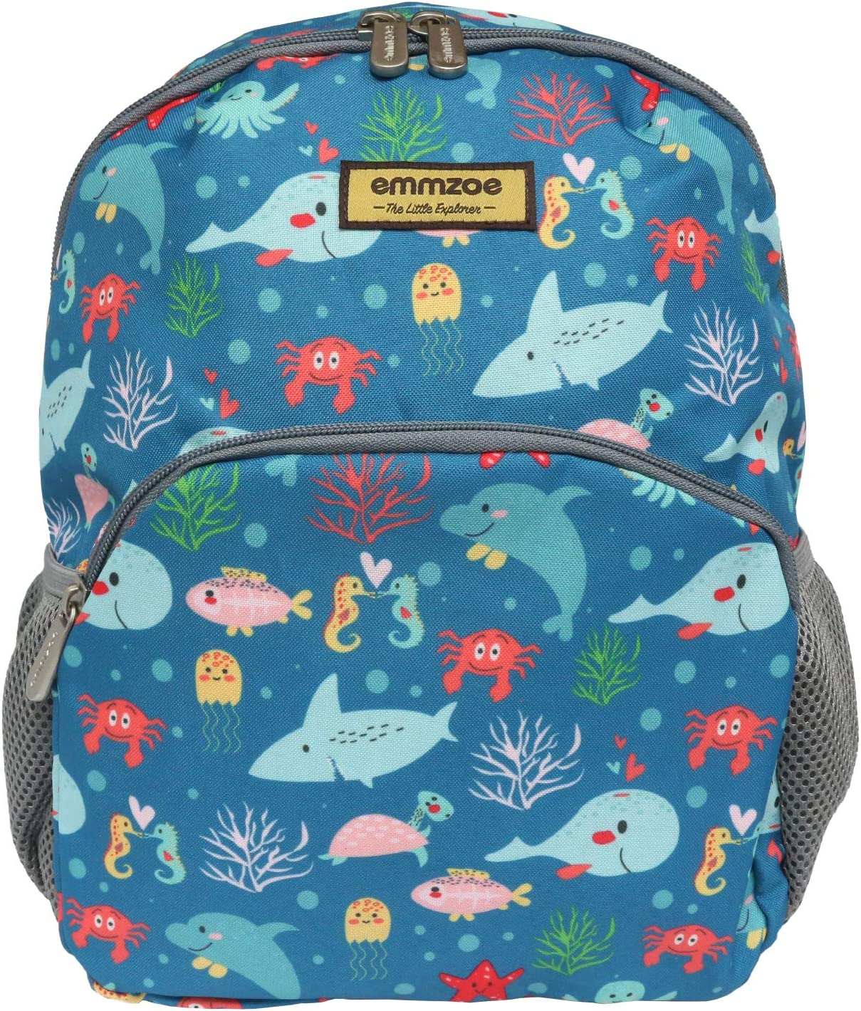 Emmzoe Little Explorer Mini Toddler & Kids Backpack - Lightweight Fits Lunch, Table, Food, Books (Sea Animals)