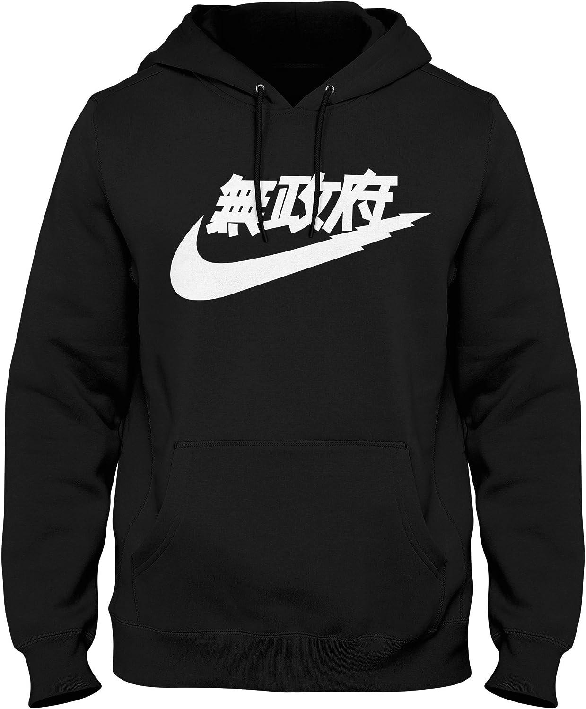 Igtees Sweat Shirt à Capuche Homme Noir Black (White Print)