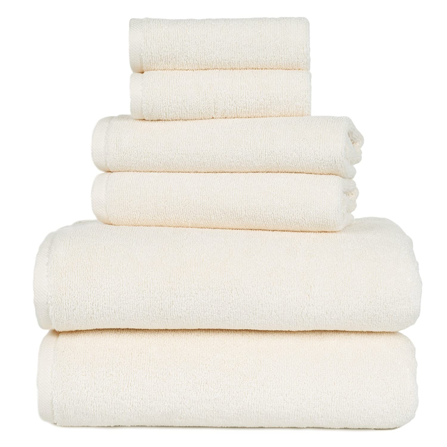 Set of 2 Ivory Zero Twist Cotton Soft and Absorbent Bath Towels