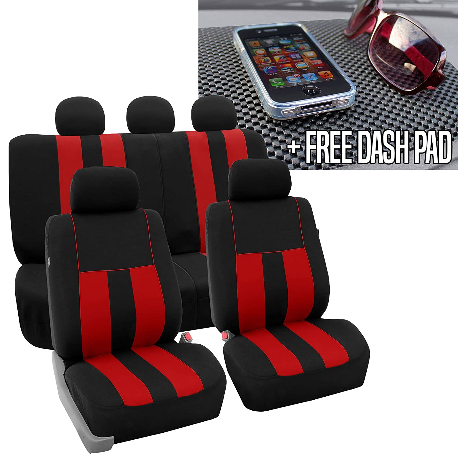 FH GROUP FH-FB036115 Striking Striped Seat Covers, Red / Black with FH GROUP FH1002 Non-slip Dash Grip Black Pad Mat - Fit Most Car, Truck, Suv, or Van