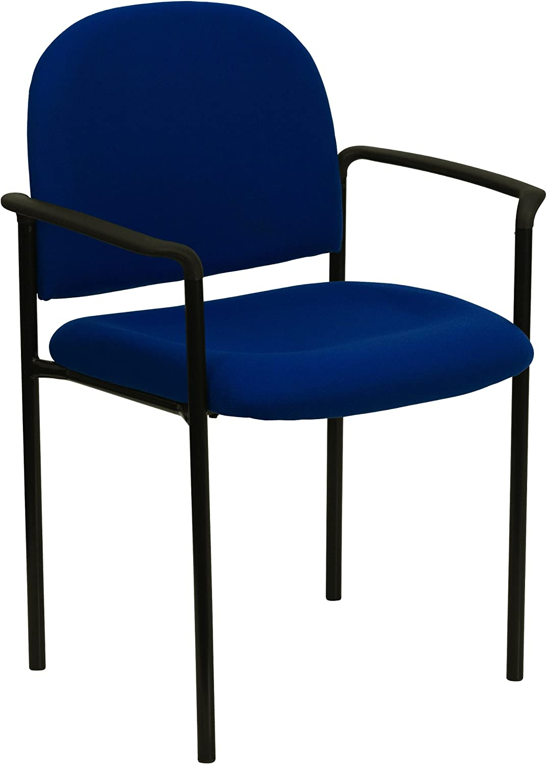 Flash Furniture Comfort Navy Fabric Stackable Steel Side Reception Chair  with Arms