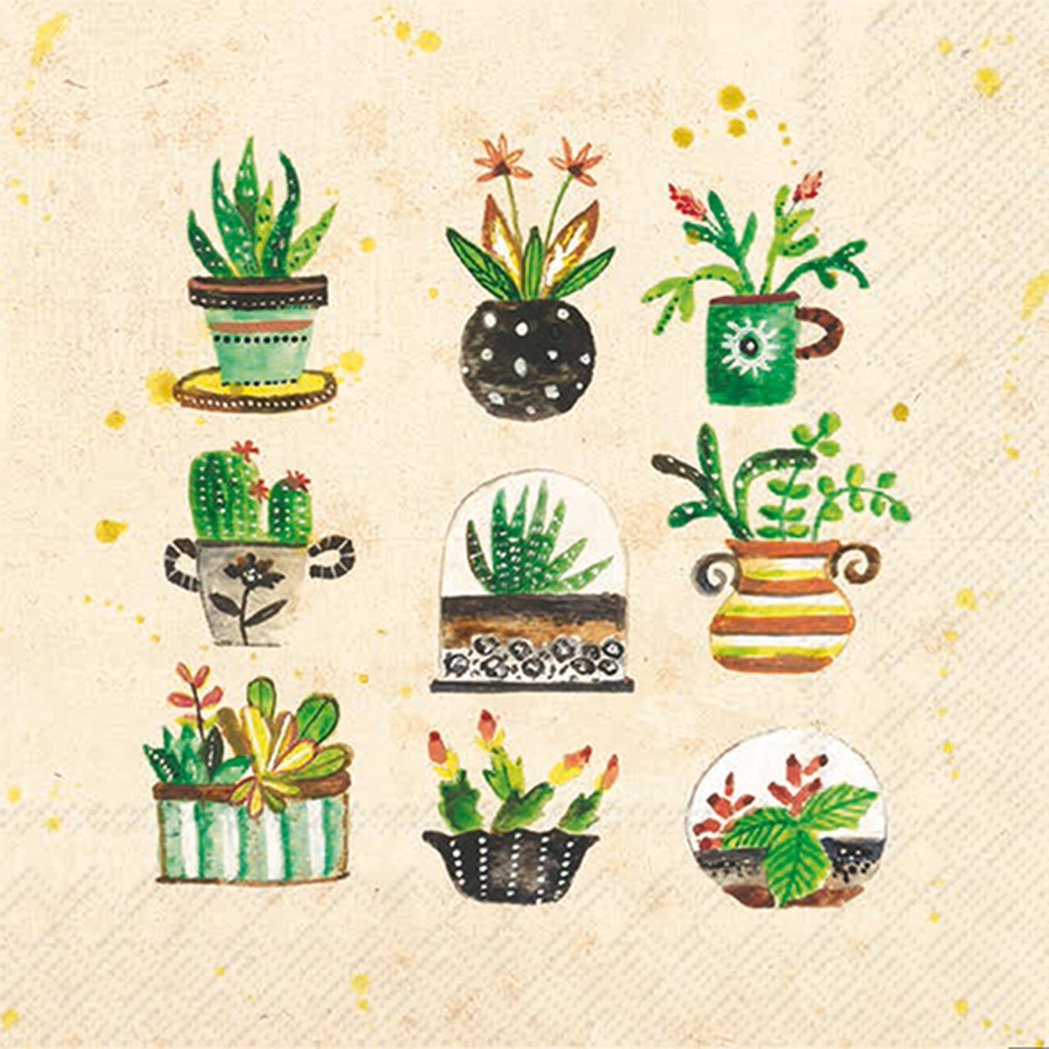 Celebrate the Home Lori Siebert 3-Ply Paper Cocktail Napkins, Succulents, 20 Count