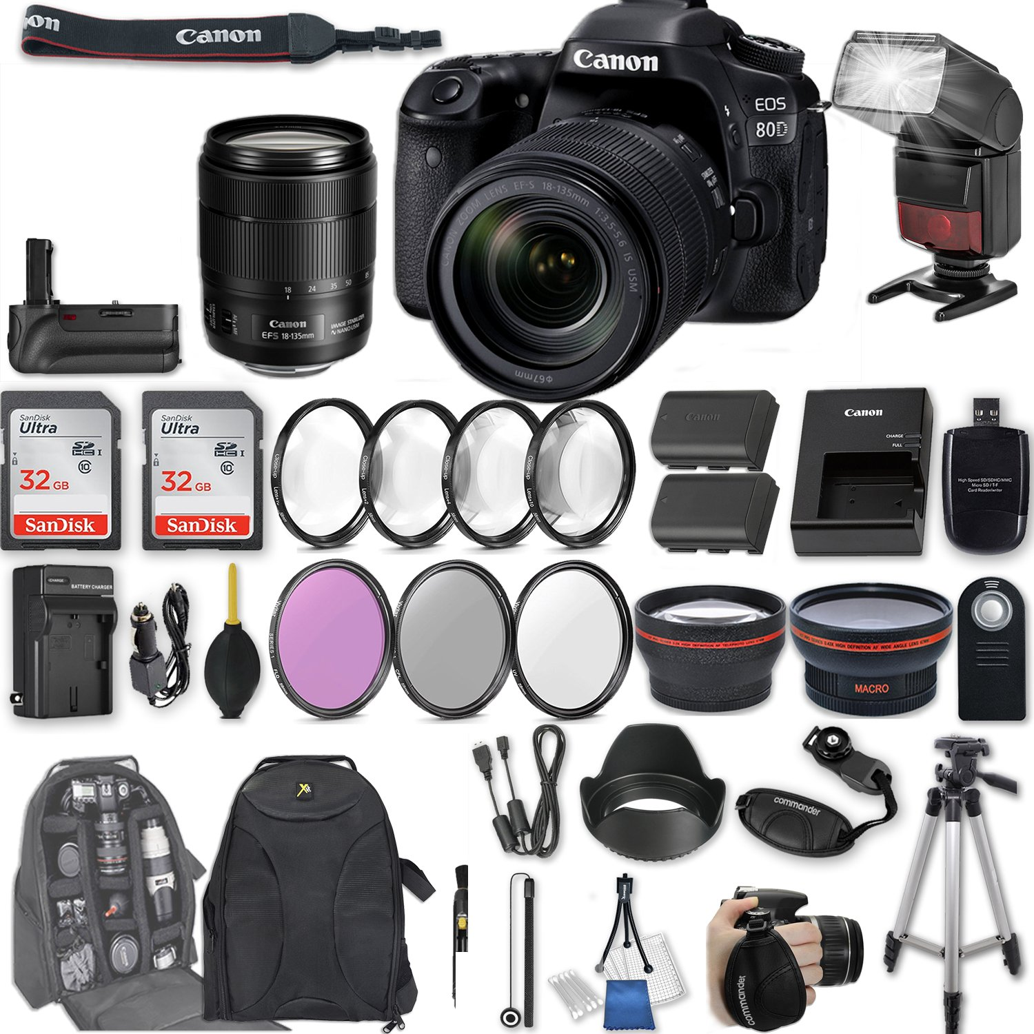 Canon EOS 80D DSLR Camera with EF-S 18-135mm f/3.5-5.6 IS USM Lens + 2Pcs 32GB Sandisk SD Memory + Automatic Flash + Battery Grip + Filter & Macro Kits + Backpack + 50'' Tripod + More by Canon
