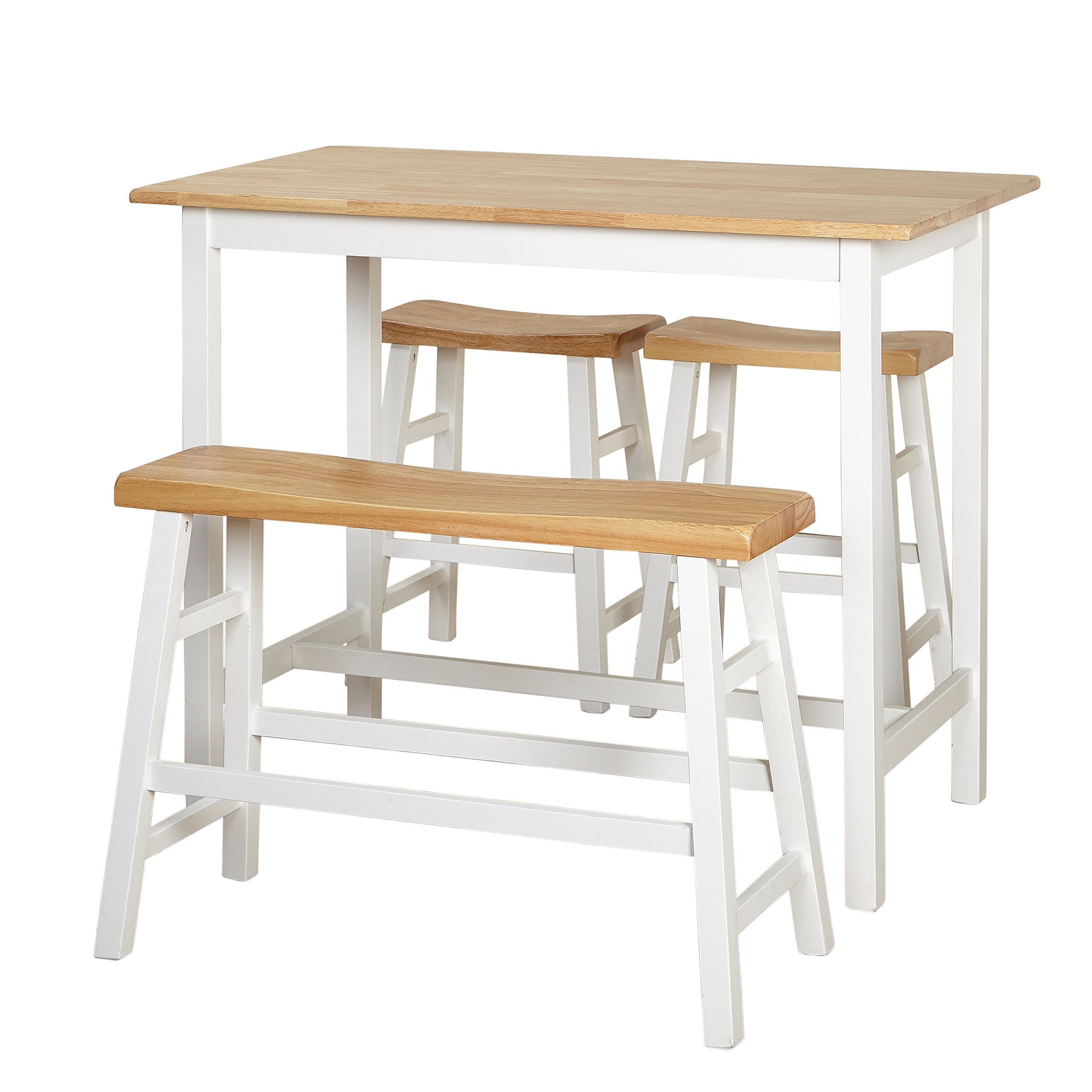Target Marketing Systems 64414WHT Galena Counter Height Set (4-Piece), Natural/White