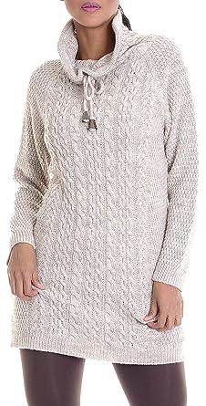 3435140acf52 LEIF NELSON Damen Strick-Pullover   Frauen Basic Strick-Pulli mit  Schalkragen   Damen Woll-Hoodie Langarm-Sweatshirt Kleidung Frauen LN10215   Amazon.de  ...