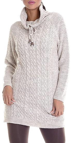 Leif Nelson Damen Strick Pullover Frauen Basic Strick Pulli mit Schalkragen Damen Woll Hoodie Langarm Sweatshirt Das Beste in Kleidung Frauen LN10215