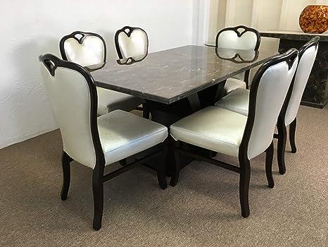 Mesa de comedor de mármol genuino, color marrón/café/verde + ...