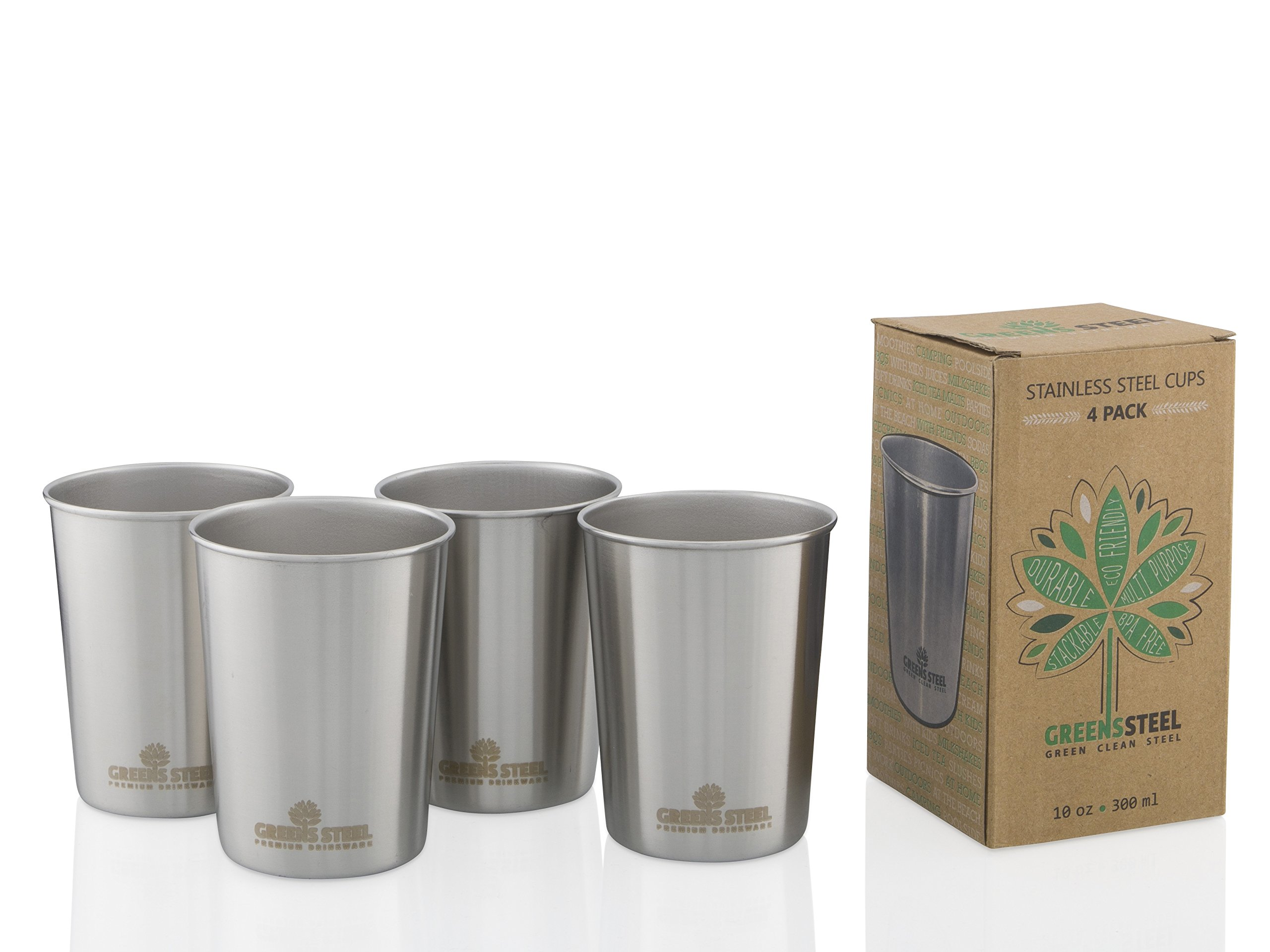 10oz Stainless Steel Cups - Metal Cups For Kids - BPA free (4 Pack) by Greens Steel (Image #1)