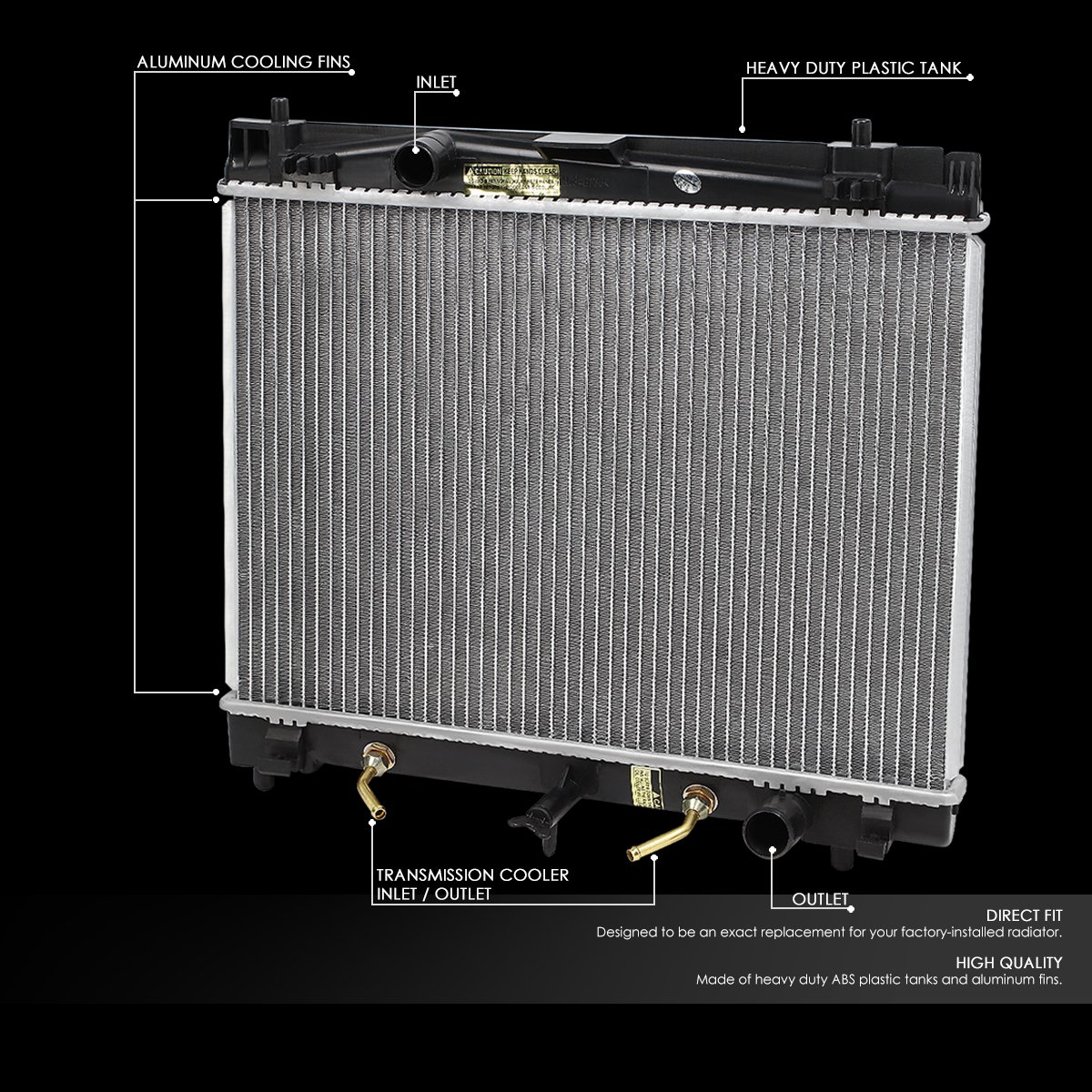 For Yaris//Scion xD 1-1//4 inches Inlet OE Style Aluminum Direct Replacement Racing Radiator