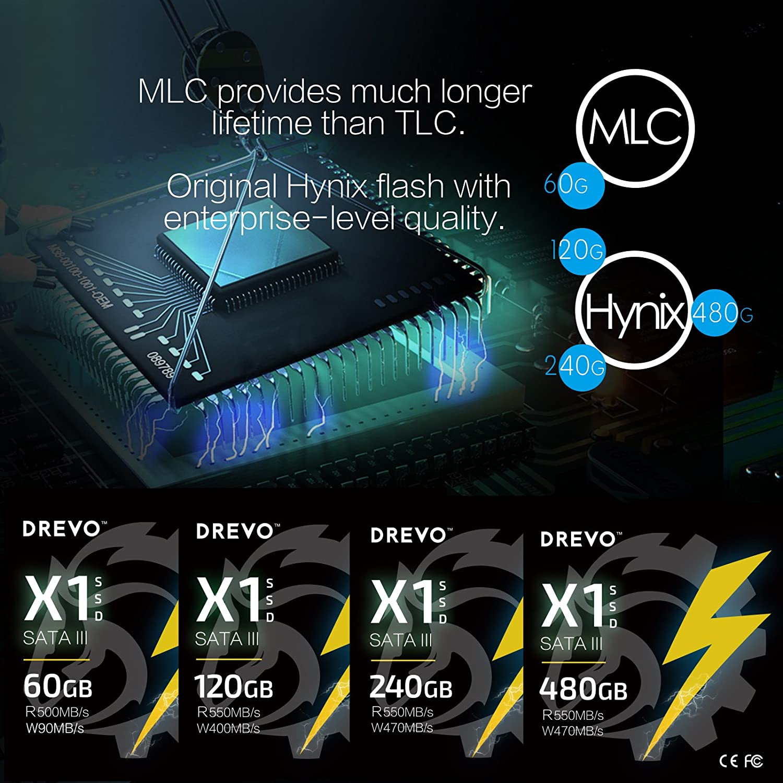 DREVO X1 Series 480GB SSD 2.5-inch Solid State Drive SATA3 Read ...
