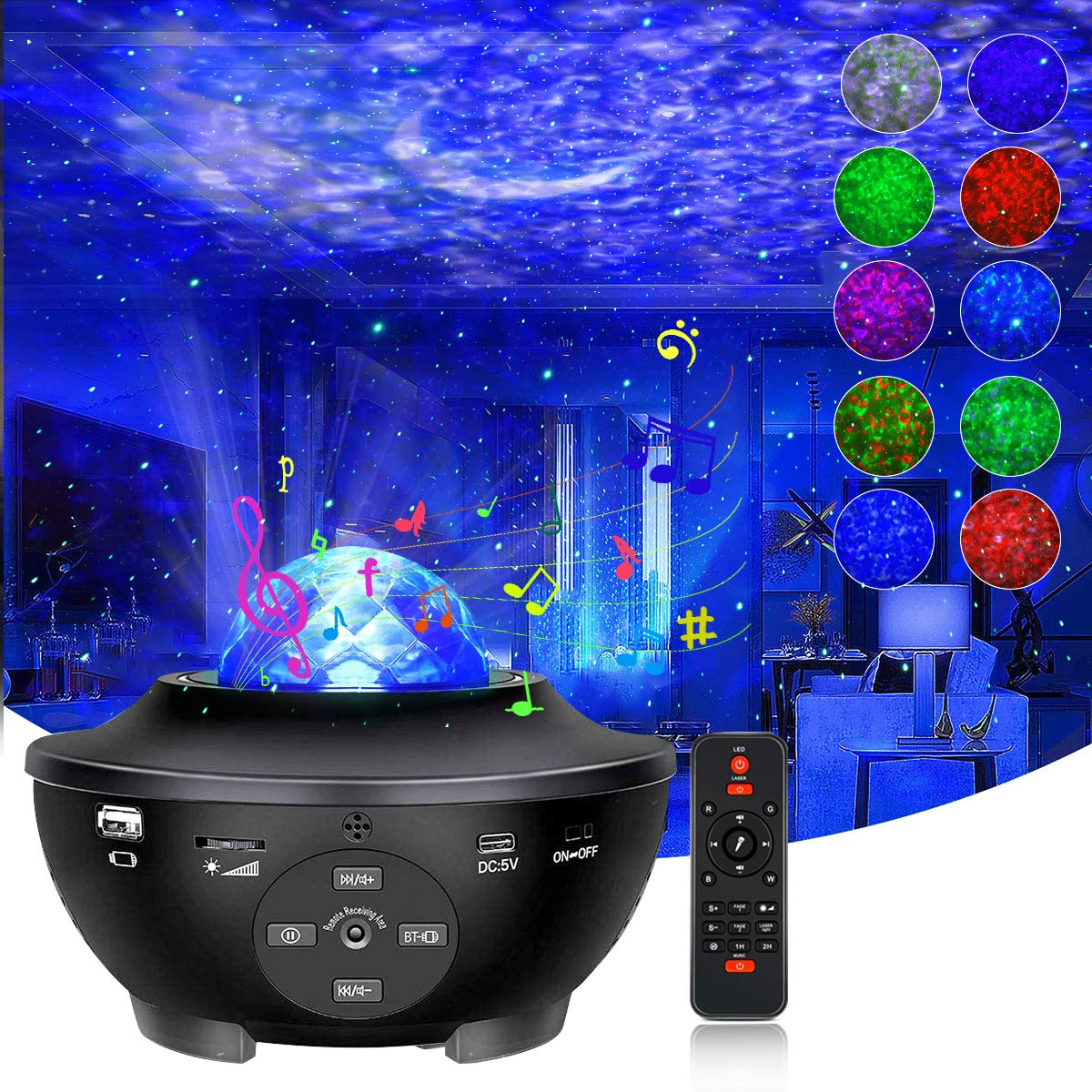 Star Projector Night Light, Galaxy Projector with Remote Control LED Nebula Cloud Light Projector Music Speaker Ocean Wave Night Lights for Kids Adult Bedroom/Home Theatre Ambiance Decor