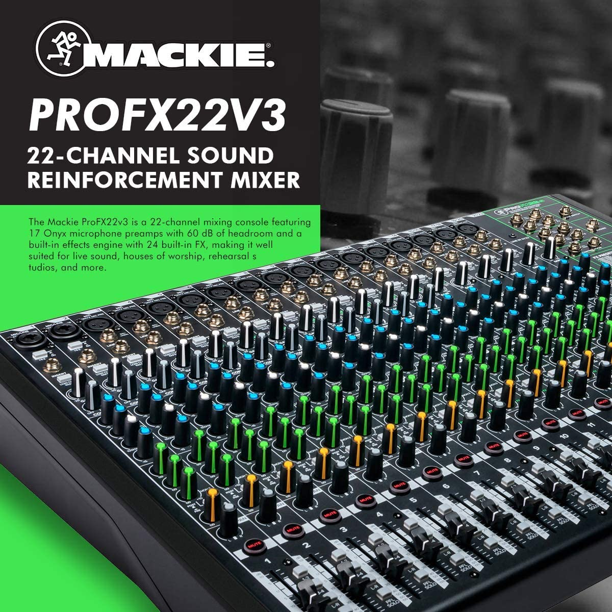 Mackie ProFX12v3 12-Channel Sound Reinforcement Mixer with Built-In FX Q7x Dynamic Supercardioid Handheld Microphone Xpix Pop Screen Filter Xpix 6 Mic Stand /& Professional Cable Accessories